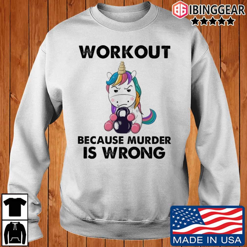 Unicorn workout because murder is wrong rainbow s Ibinggear sweater trang
