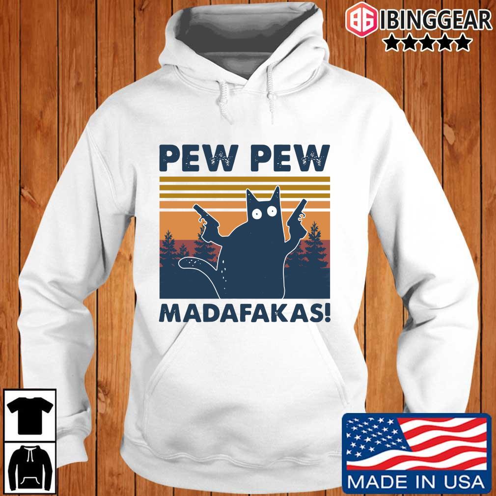 Cat pew pew madafakas vintage Ibinggear hoodie trang