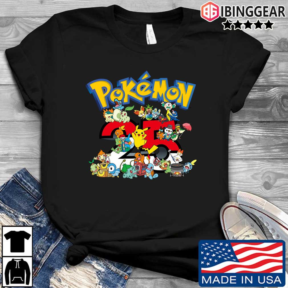 Pokemon characters 25 years shirts