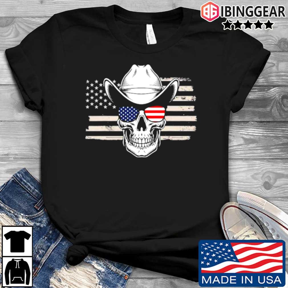 Skull with sunglasses and cowboy hat in front of American flag shirt