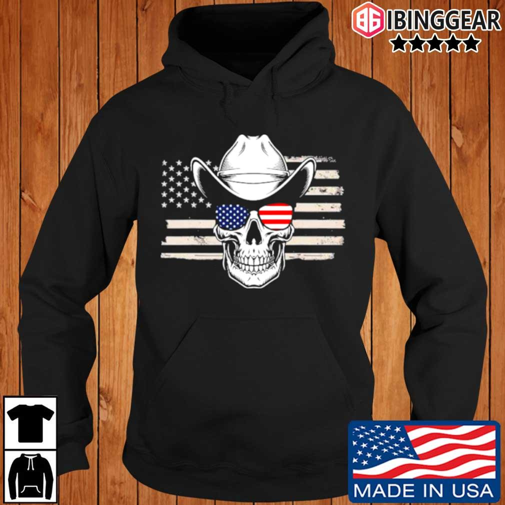 Skull with sunglasses and cowboy hat in front of American flag Ibinggear hoodie den