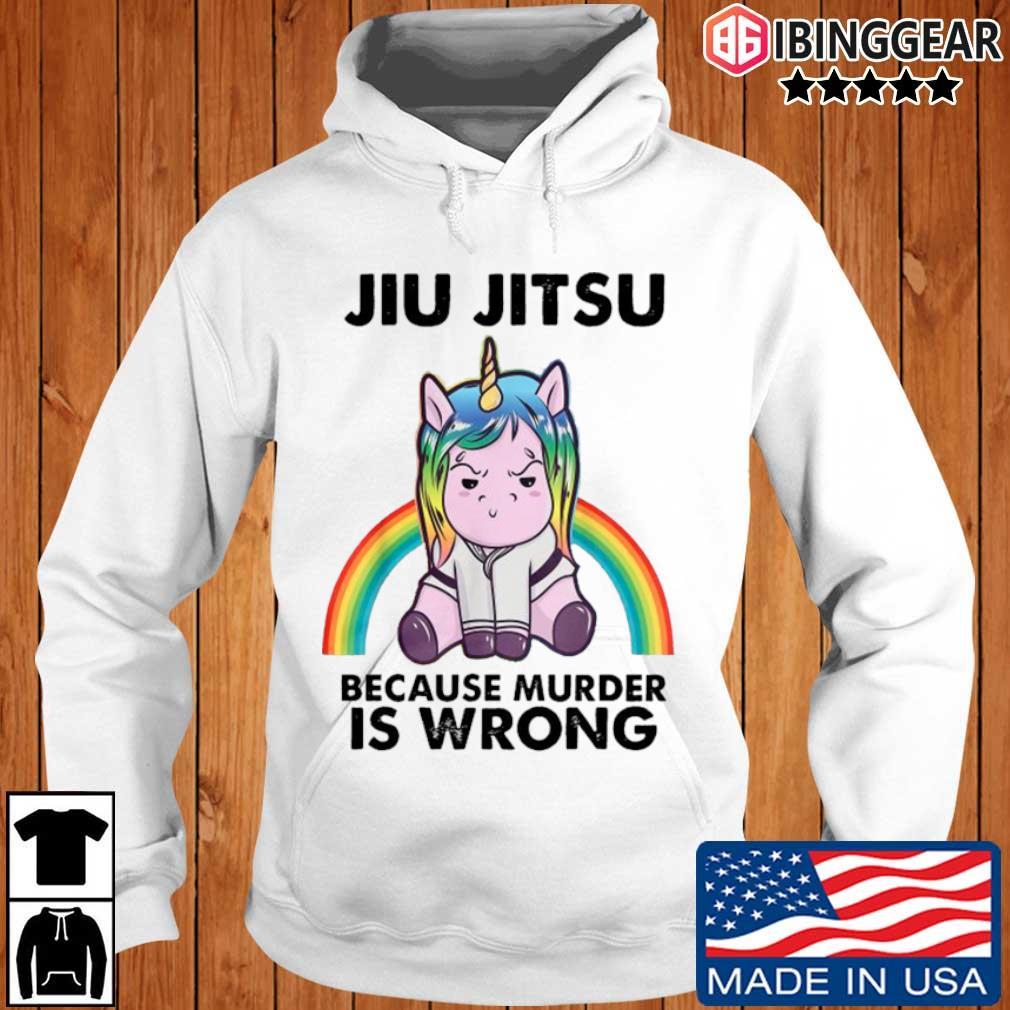Unicorn jiu jitsu because murder is wrong rainbow Ibinggear hoodie trang