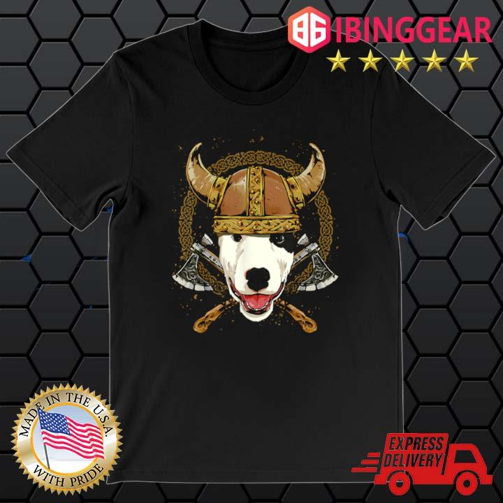 Viking Bull Terrier Dog with Viking Helmet Mjolnir Axes Shirt