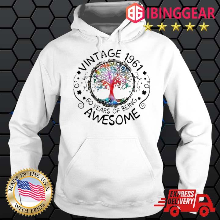 Vintage 1961 60 Years Of Being Awesome Tree Shirt Hoodie trang