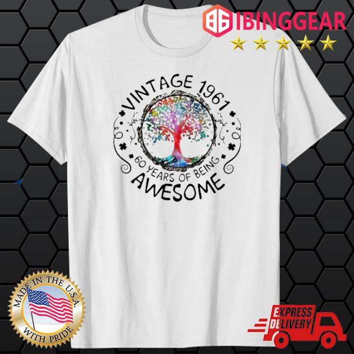 Vintage 1961 60 Years Of Being Awesome Tree Shirt