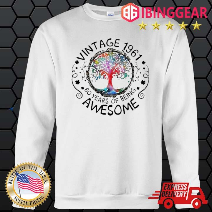 Vintage 1961 60 Years Of Being Awesome Tree Shirt Sweater trang