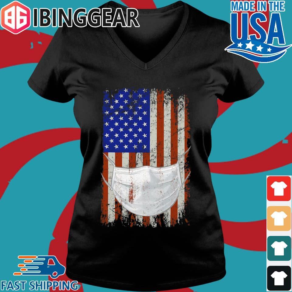 American flag Quarantined Corona Covid 2019 Shirt Ladies V-Neck