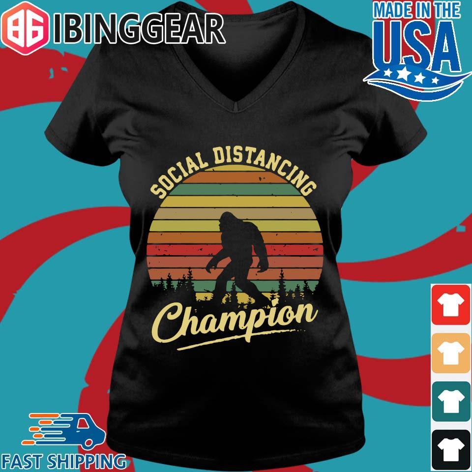 Bigfoot Social Distancing Champion Vintage s Ladies V-Neck