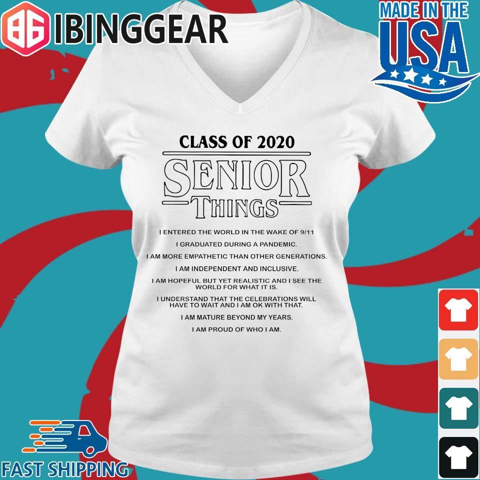 Class of 2020 Senior Things Stranger Things Shirt Ladies V-Neck trang