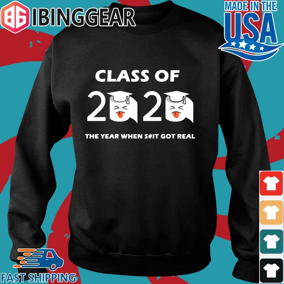 Class of 2020 The Year When Shit Got Real Graduation Funny Quarantine Tee Shirt Sweater den