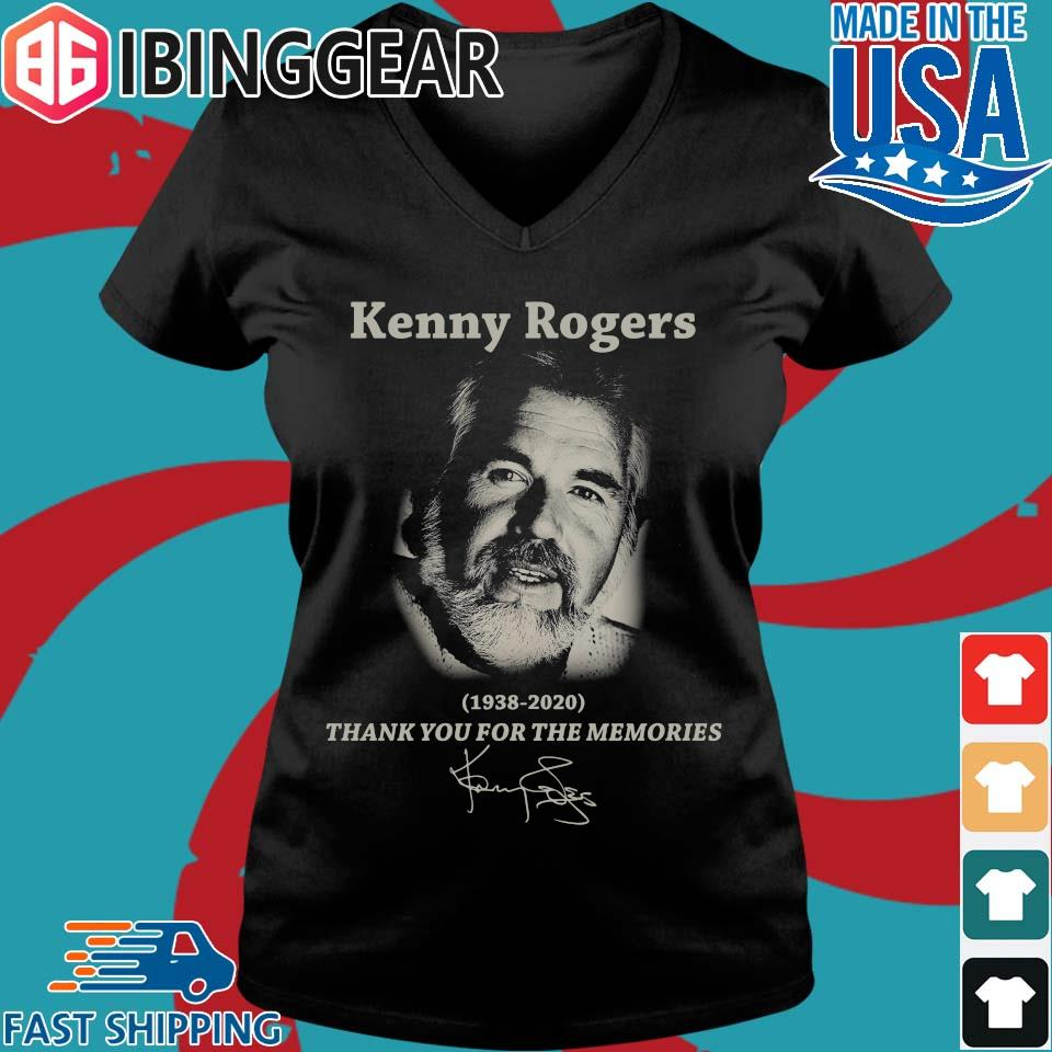 Kenny Rogers 1938 2020 thank you for the memories signature s Ladies V-Neck