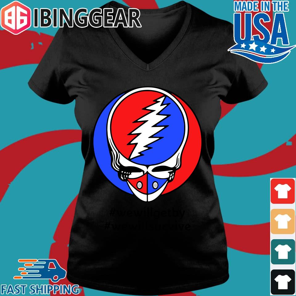 Grateful Dead Mask We Will Get By We Will Survive T-s Ladies V-Neck