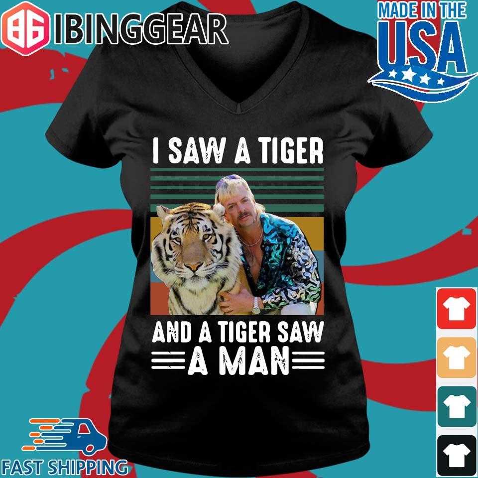 Joe Exotic I Saw Tiger And Tiger Saw A Man Vintage Shirt Ladies V-Neck