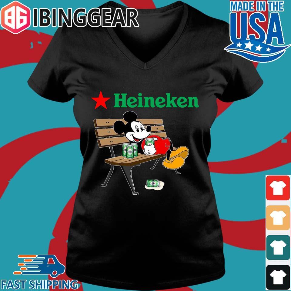 Mickey Mouse Drink Heineken Shirt Ladies V-Neck