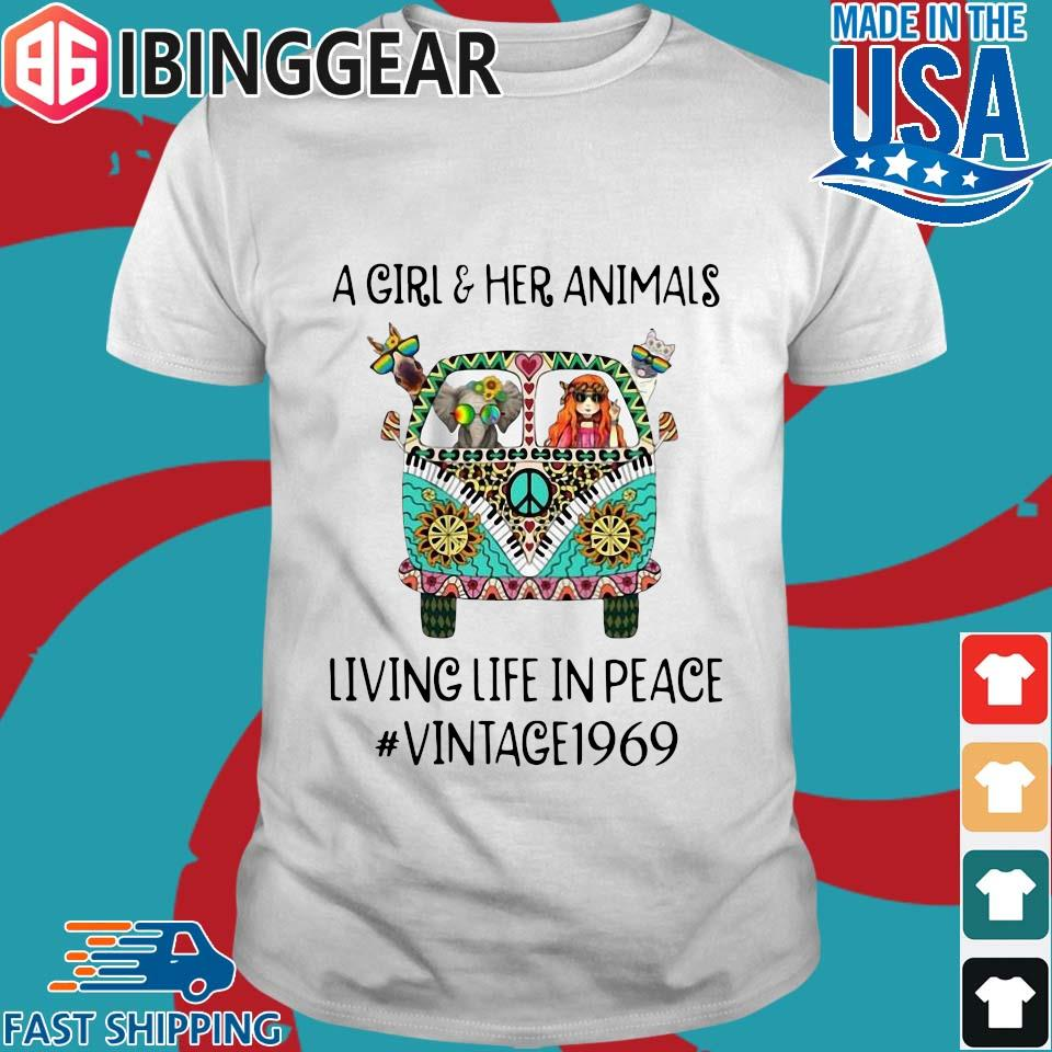 A Girl And Her Animals Living Life In Peace Vintage 1969 Shirt