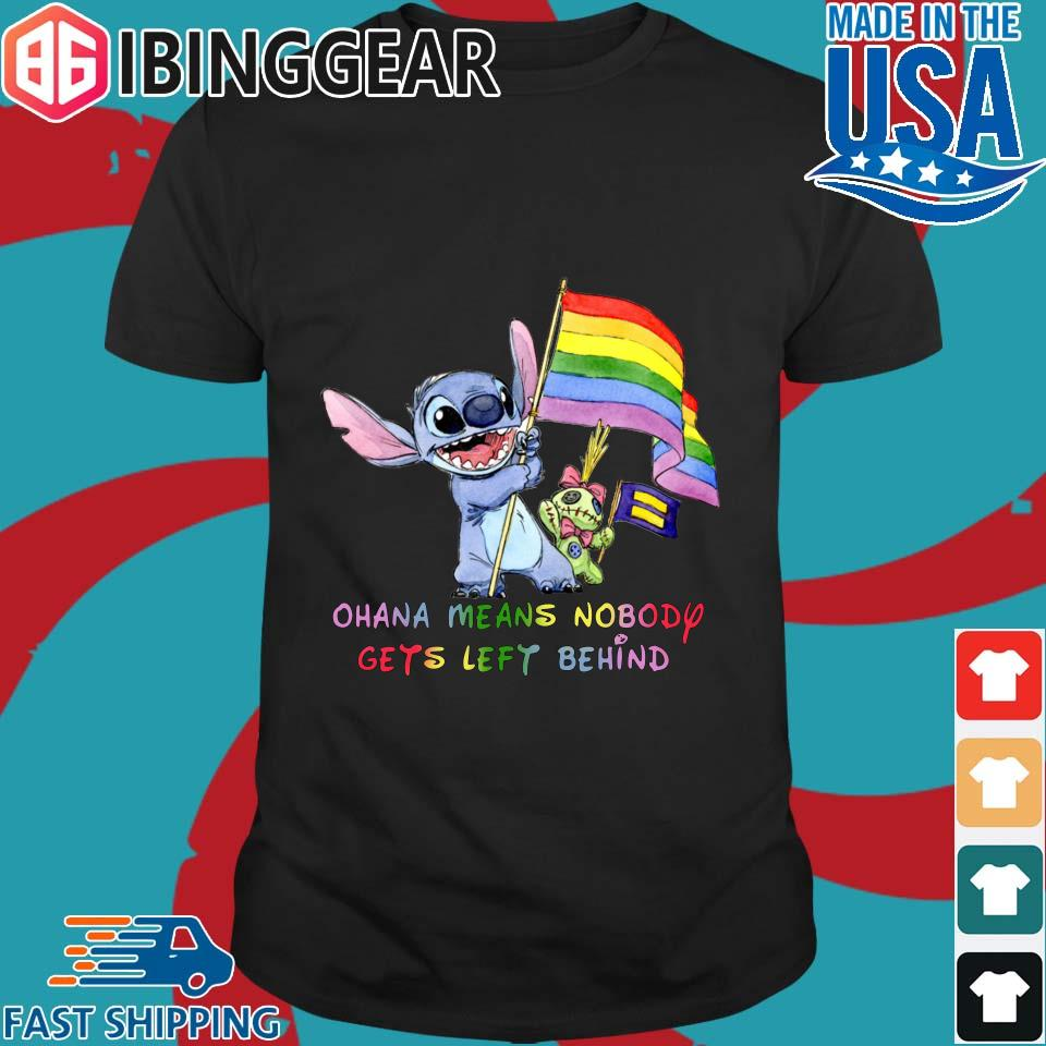 LGBT Stitch Ohana Means Nobody Gets Left Behind Flag Shirts