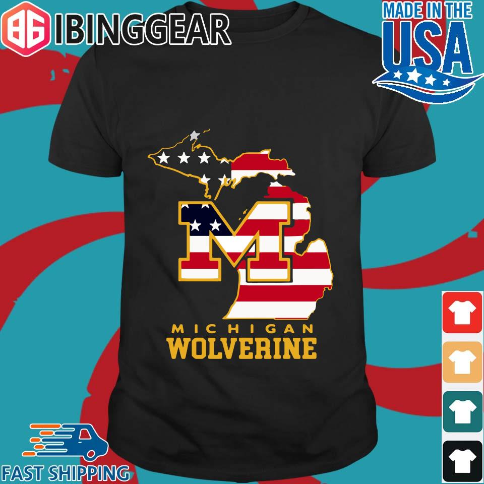 Michigan Wolverine American Flag Map Independence Day Shirt