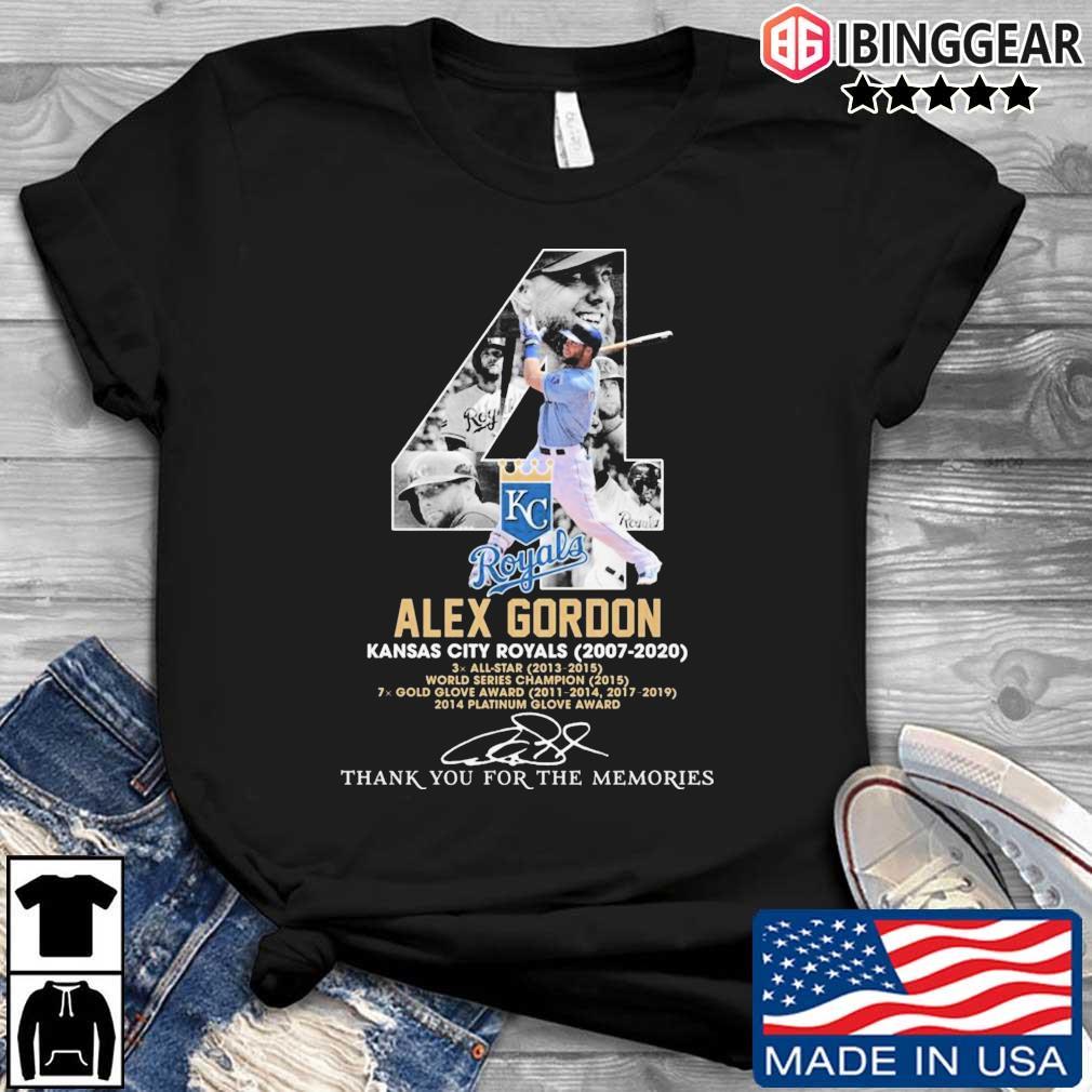 4 Alex Gordon Kansas City Royals 2007-2020 thank you for the memories signatures shirt