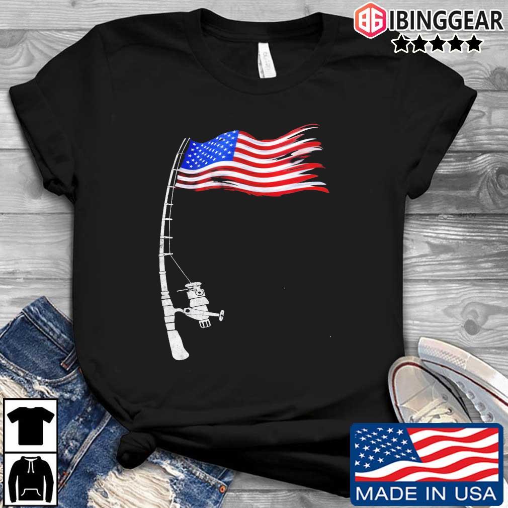 Fishing rod American flag shirt