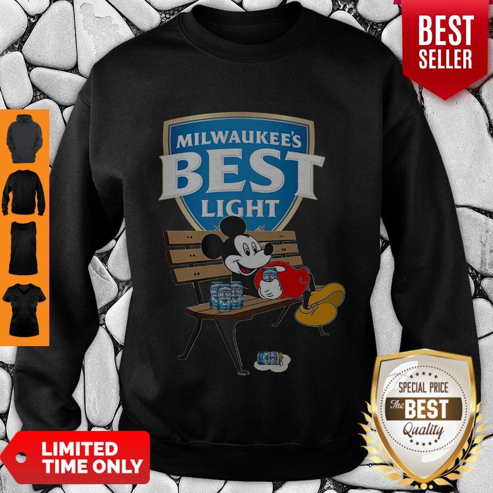 Top Mickey Mouse Drink Milwaukee's Best Light Beer Sweatshirt