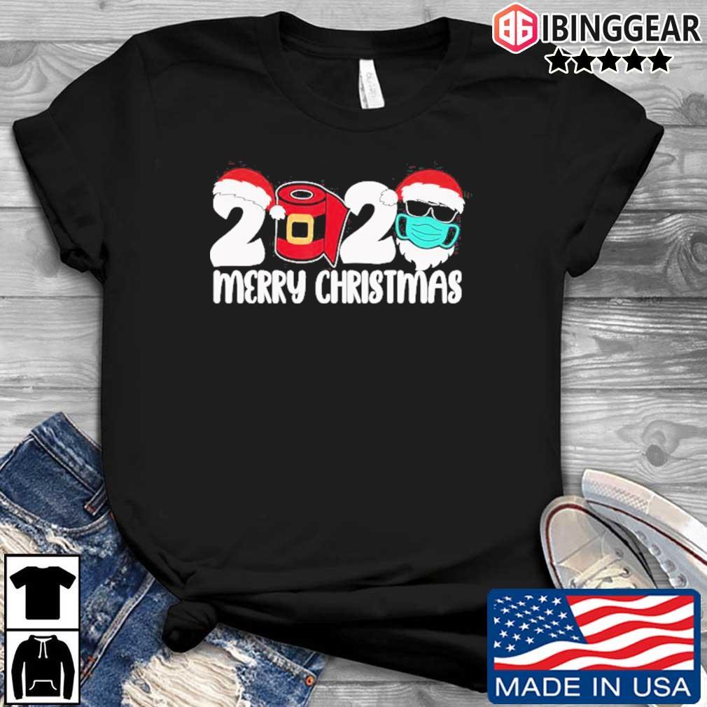 Merry Christmas 2020 Quarantine Christmas Santa Face Mask T-Shirt