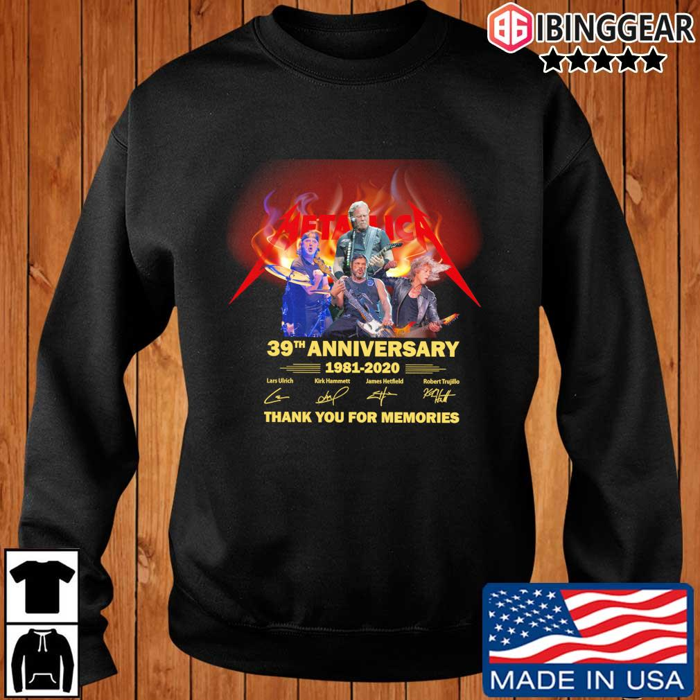 Metallica 39th anniversary 1981-2020 thank you for the memories signatures s Ibinggear sweater den