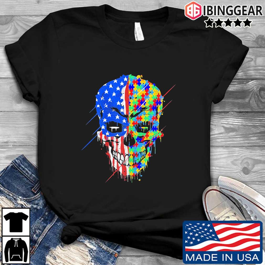 Skull Autism Awareness American flag shirt