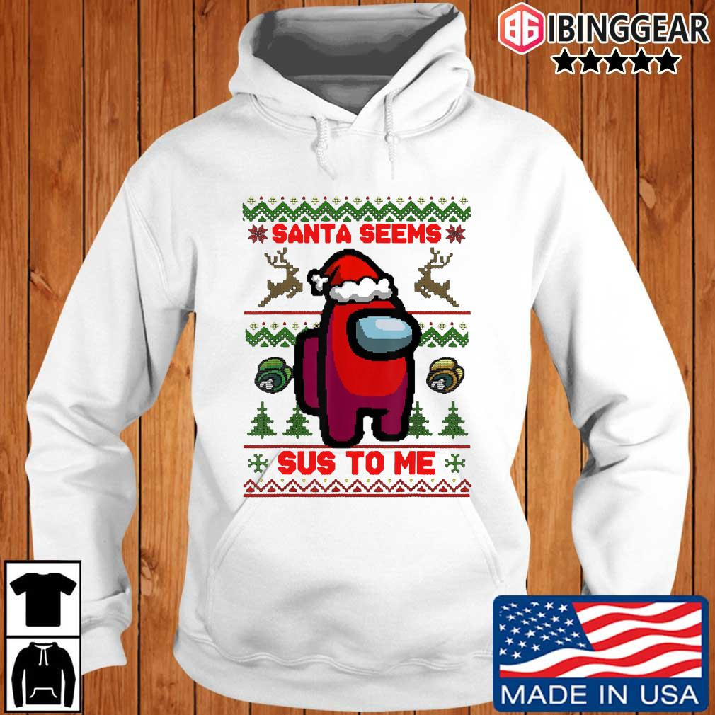 Santa Seems Sus To Me Ugly Christmas Sweater Ibinggear hoodie trang