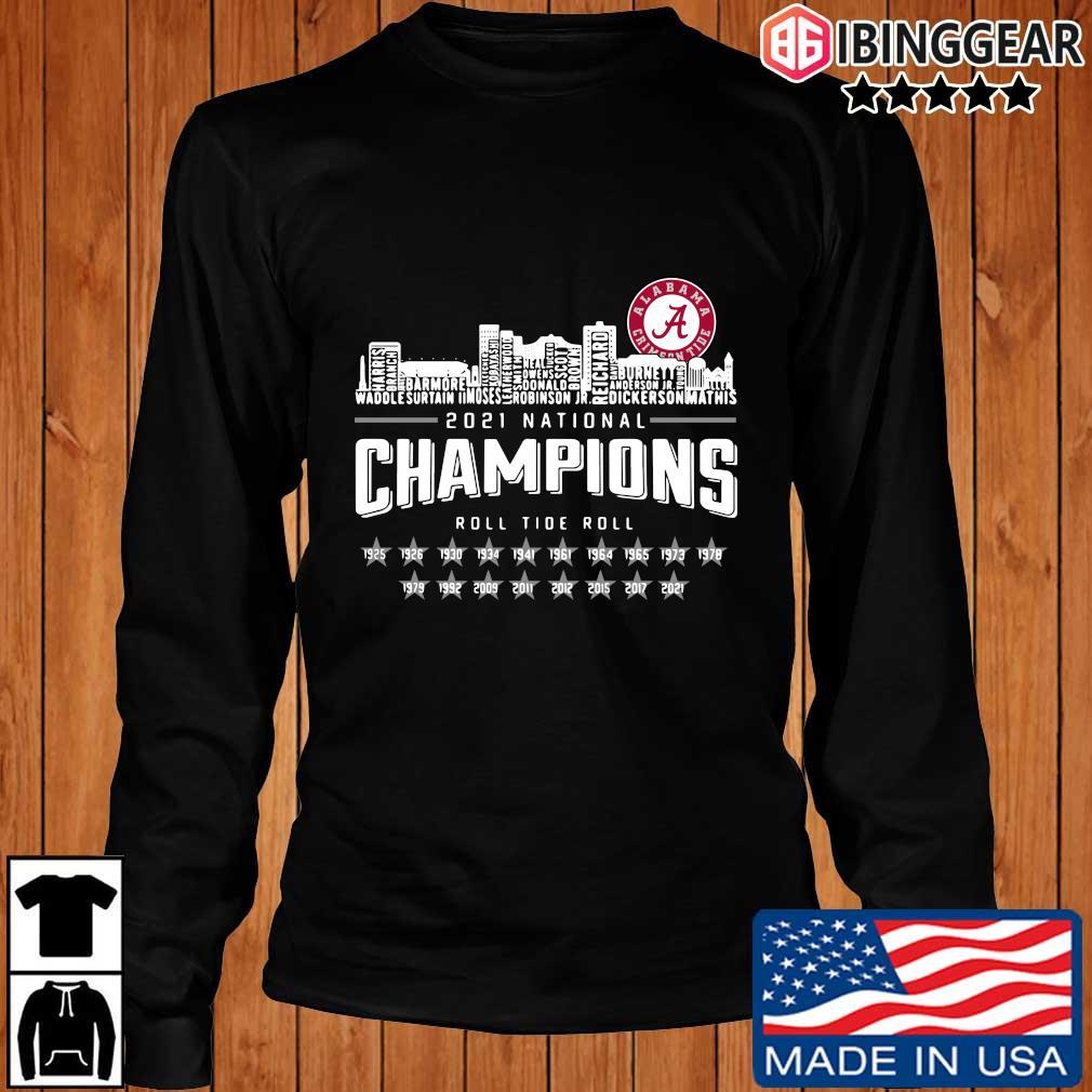 Alabama Crimson Tide 2021 national Champions roll Tide roll 1935-2021 s Longsleeve Ibinggear den