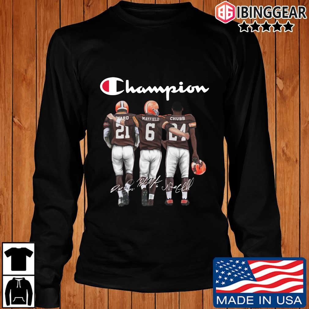 Cleveland Browns Champion Mayfield Chubb signatures s Longsleeve Ibinggear den