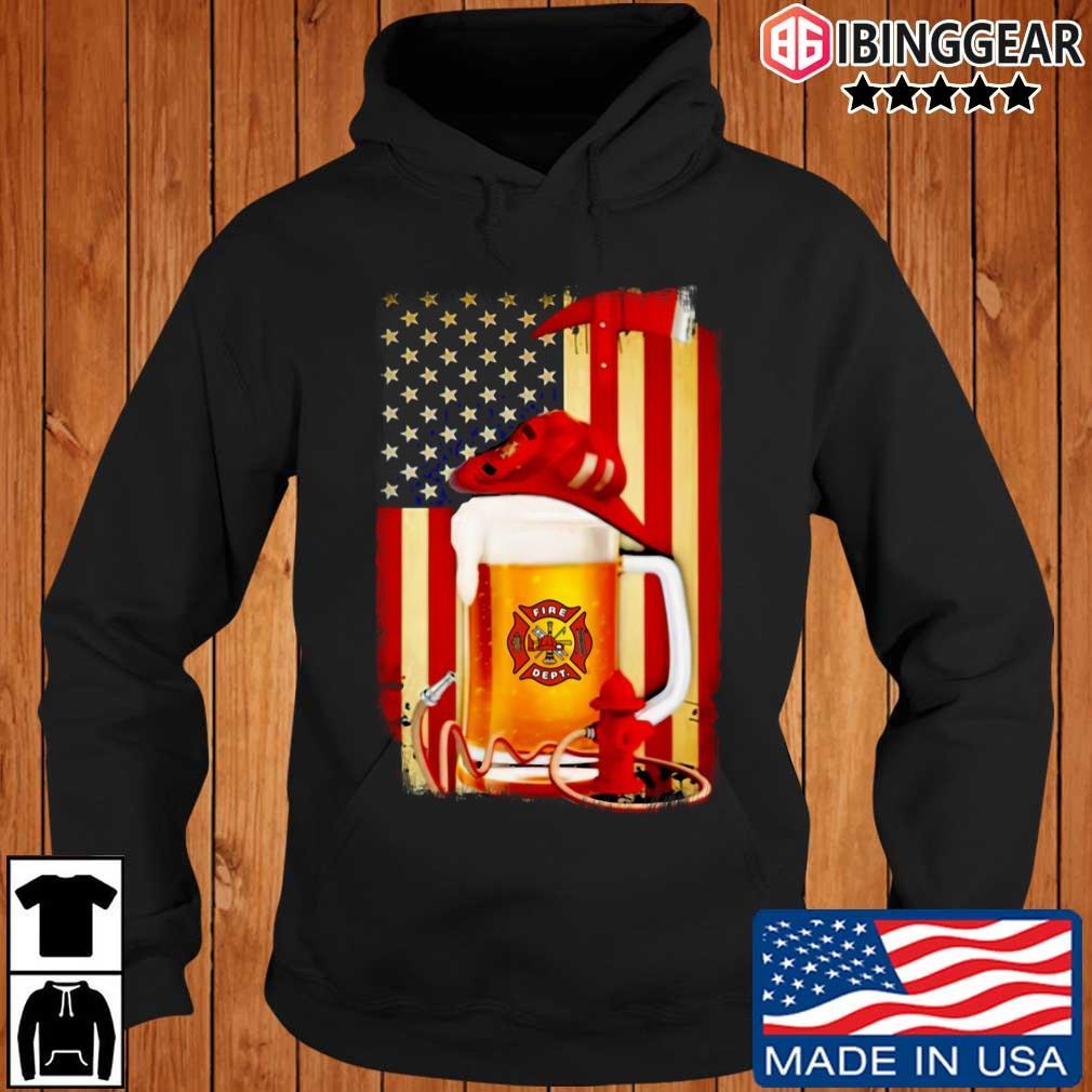 Fire Dept Beer American Flag Shirt Ibinggear hoodie den