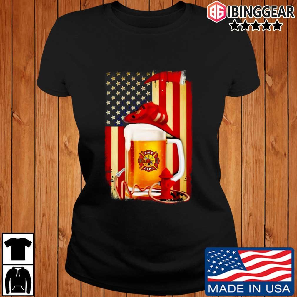 Fire Dept Beer American Flag Shirt Ibinggear ladies den