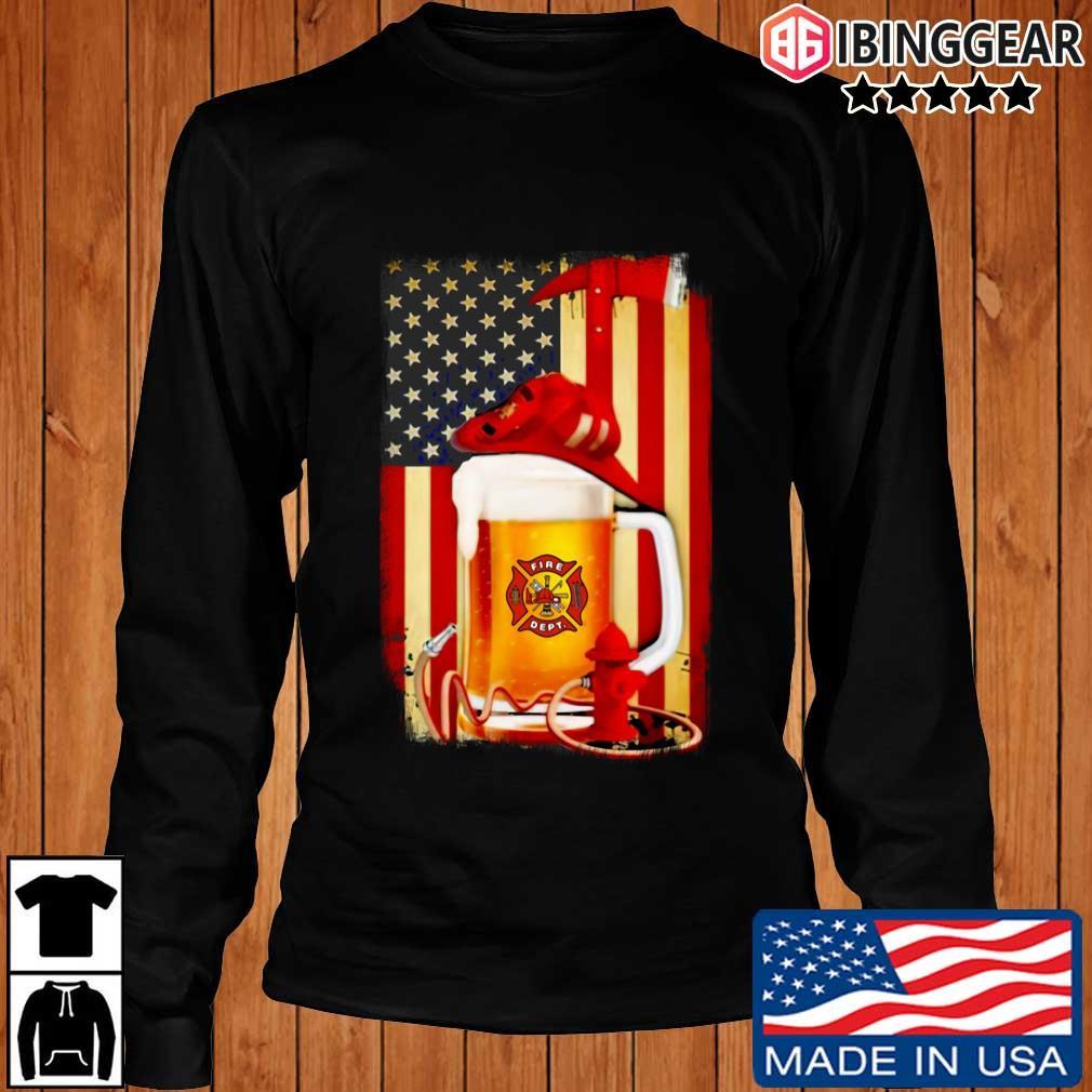 Fire Dept Beer American Flag Shirt Longsleeve Ibinggear den