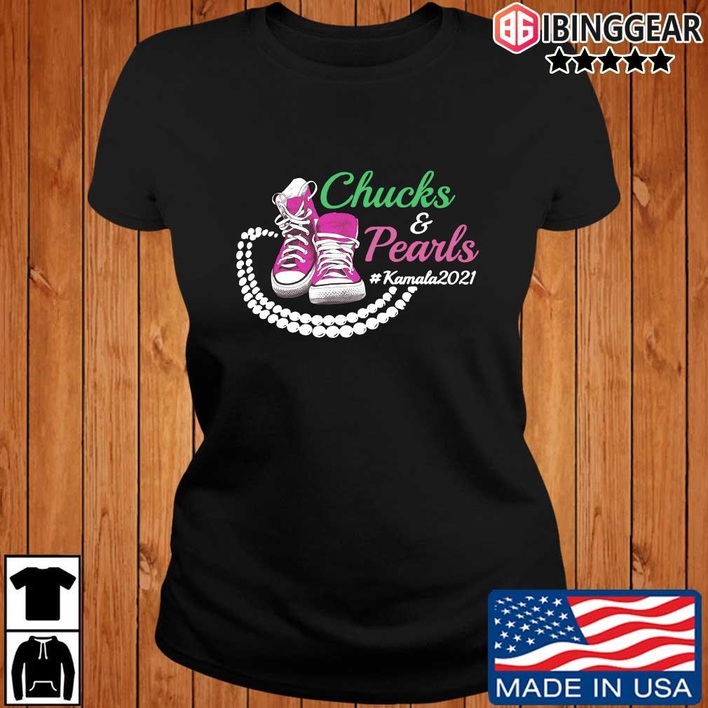 Kamala Harris Chucks And Pearls Aka Sorority 1908 T-Shirt Ibinggear ladies den