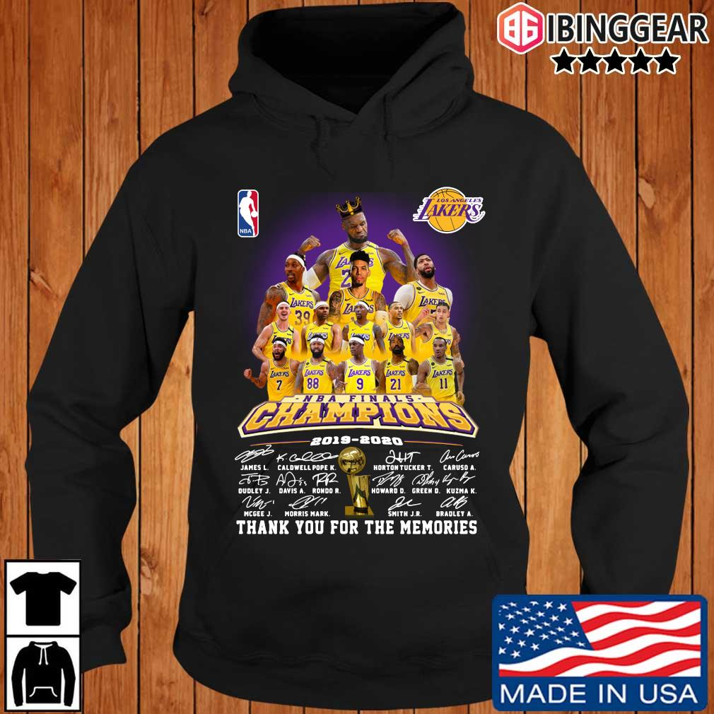 Los Angeles Lakers NBA Champions 2019-2020 thank you for the memories signatures s Ibinggear hoodie den