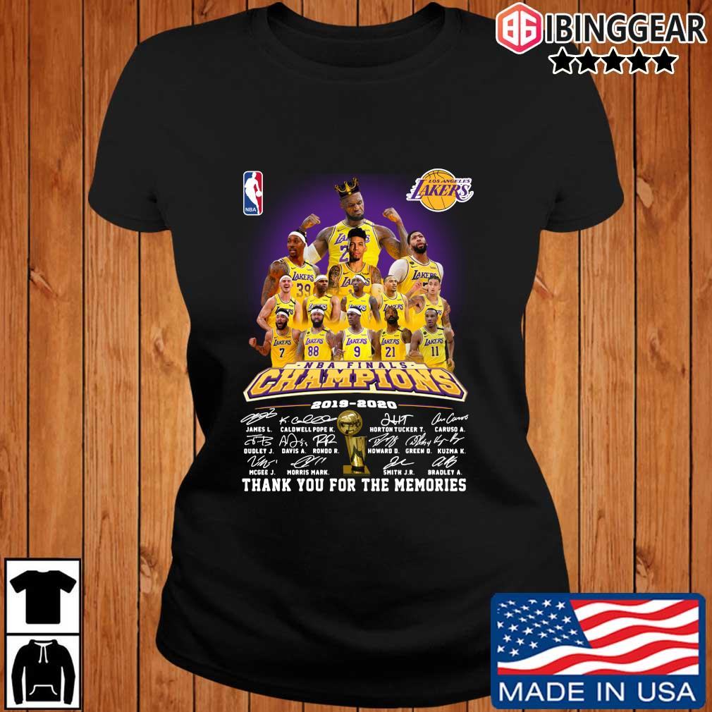 Los Angeles Lakers NBA Champions 2019-2020 thank you for the memories signatures s Ibinggear ladies den