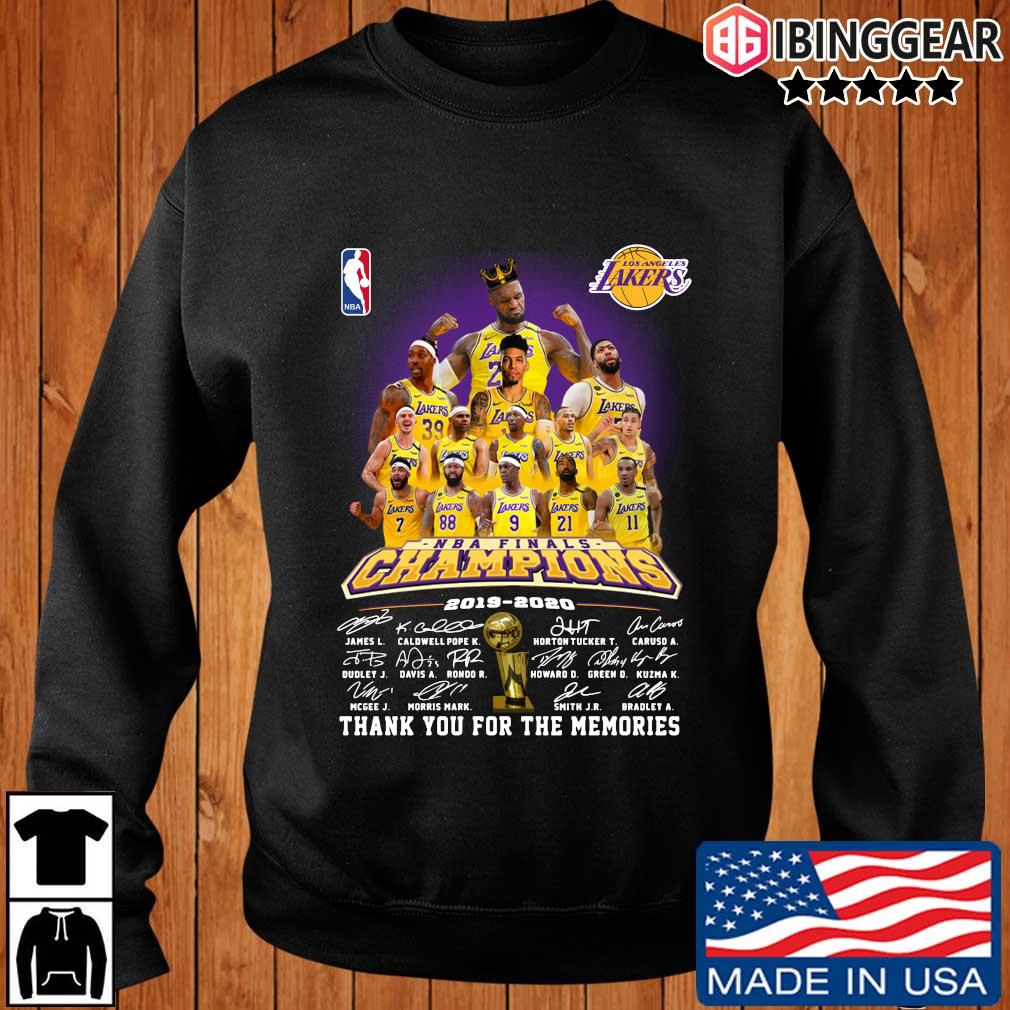 Los Angeles Lakers NBA Champions 2019-2020 thank you for the memories signatures shirt