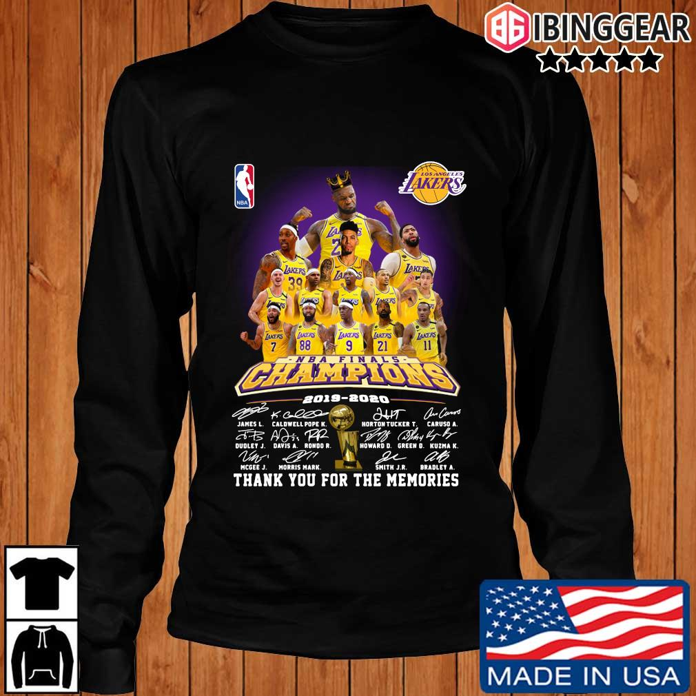 Los Angeles Lakers NBA Champions 2019-2020 thank you for the memories signatures s Longsleeve Ibinggear den