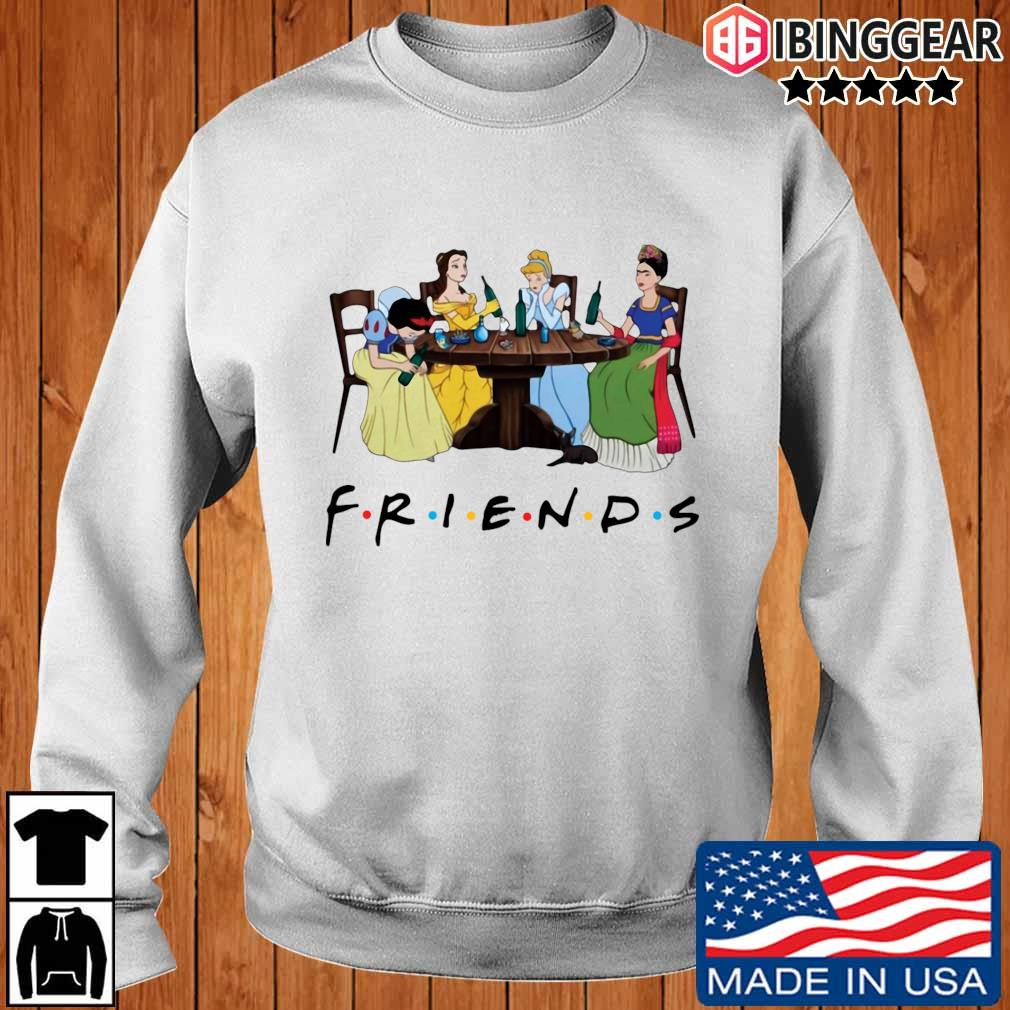 Official Frida Kahlo and Disney princesses drinking Friends TV show shirt