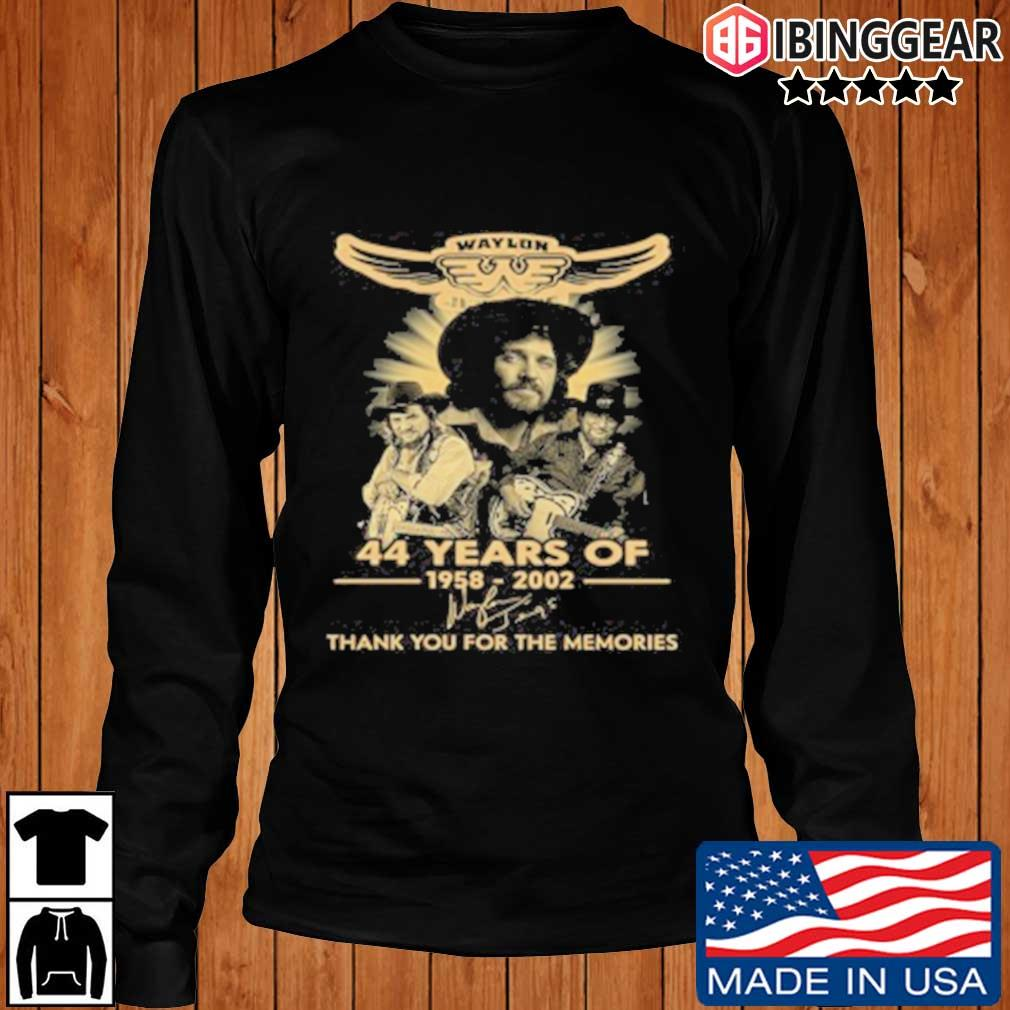 Official Waylon Jennings 44 Years Of 1958 2020 Signature Thank You For The Memories T-Shirt Longsleeve Ibinggear den