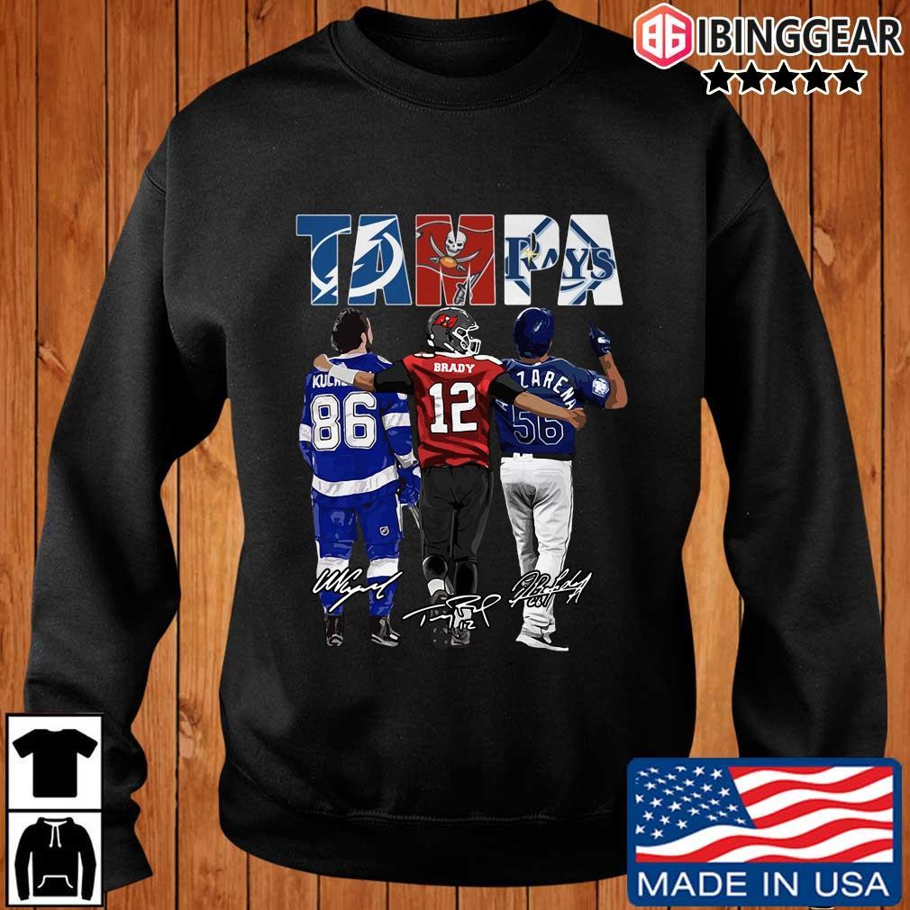Tampa Tampa Bay Lightning Tampa Bay Buccaneers Tampa Bay Rays Nikita Kucherov Tom Brady Randy Arozarena signatures t-s Ibinggear sweater den