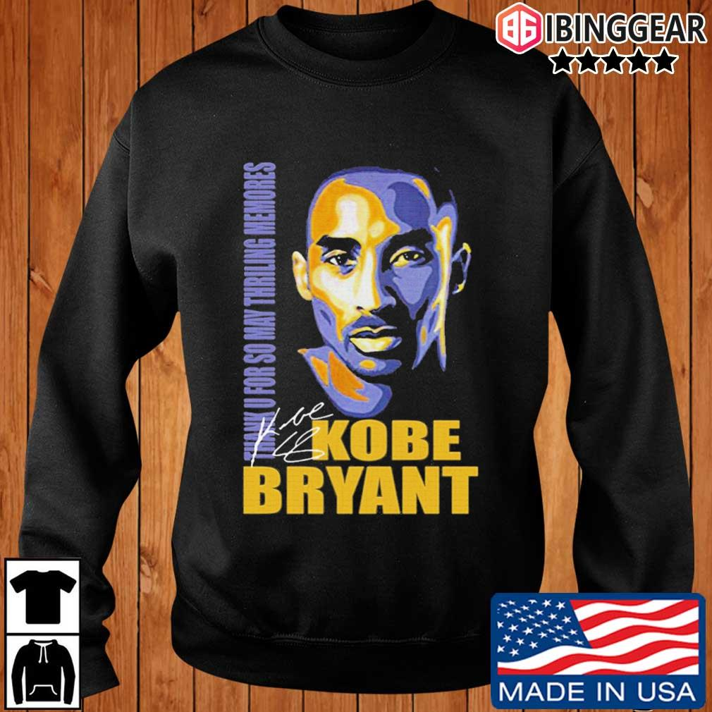 Thank You So May Thrilling Memories With Kobe Bryant Signature Shirt Ibinggear sweater den